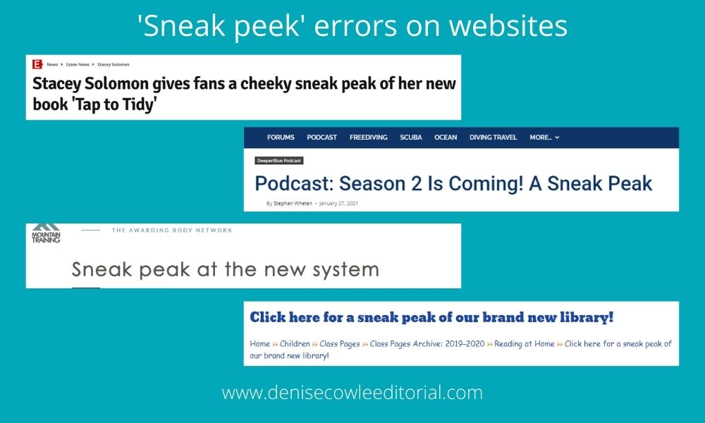 Examples of sneak peek in website headings, where peek is spelled P-E-A-K, which is incorrect.