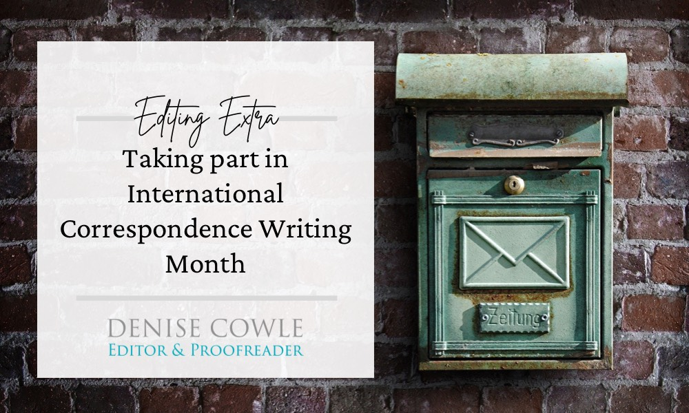 TAking part in International Correspondence Writing Month