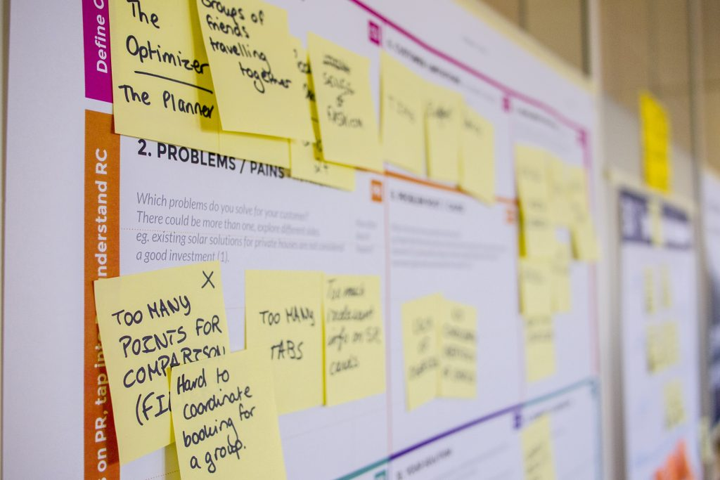 Image shows a wall planner with lots of comments on yellow sticky notes. Writing a business book takes a lot of organisation and planning.